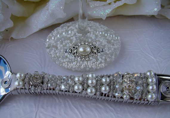 White Wedding Cake Serving Set Beaded Cake Server Set Bridal