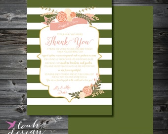 Table Thank You for Wedding, Ceremony Thank You, Reception Thank You, Striped Table Thank You, Wedding Thanks You // 5x7 //  PRINTABLE