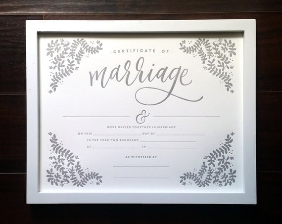 How To Find Marriage Records 6 Steps With Pictures: Marriage Certificate 11x14 Letterpress Print Art Print