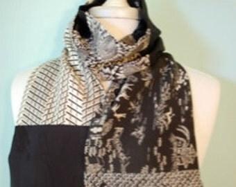 Black and white silk kimono scarf with shibori