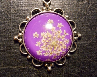 Purple and White Queen Annes Lace Preserved Specimen Necklace