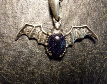 Highly Detailed Pewter Bat Wings with Galactic Blue Goldstone Heart Vampire Goth Necklace