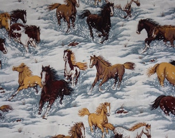 White with Horses Running in Snow Cotton Fabric by the Yard