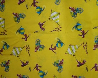 Yellow Curious George Cotton Fabric by the Yard