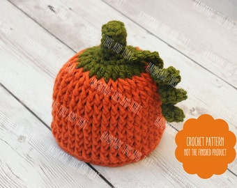 CROCHET PATTERN Newborn pumpkin hat pattern, Newborn Halloween photo prop pattern