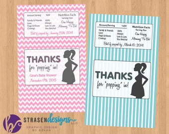 Personalized POP Baby Shower Popcorn Wrappers CUSTOM