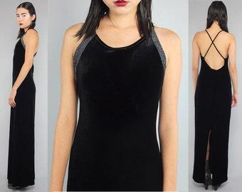 Vtg 90s Black Velvet Silver Metallic Backless Bandage Maxi Dress M L