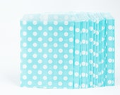 25 Light Blue with White Polka Dot Paper Bags for Candy Bars, Favors and Packaging Gifts-25 Count 5 inch x 7 inch D7