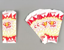 100 Popcorn Bags Retro Style Popcorn Bags with Printable Party Invitation Kit and Label Stickers