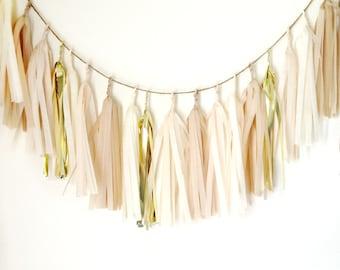 NUDE CHAMPAGNE -Tissue Paper Tassel Garland, Tissue Paper Tassels, Wedding, Tassel Garland, Party Banner, Tassels, Gold Tassels