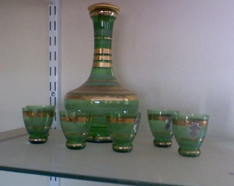 Decanter and 6 small glasses, green, Tuscany hand made