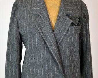 ON SALE CHRISTIAN Dior Blazer: Christian Dior // Boyfriend Blazer // Pinstriped Blazer // Charcoal Blazer // 80s 1980s Blazer