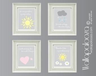 Nursery wall prints - You are my sunshine wall print SET of 4 Prints - Wall Prints - Children's wall prints - Nursery art