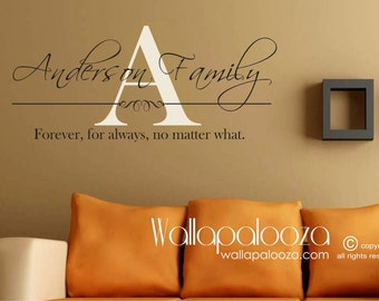 Forever for always no matter what - Family Name Monogram - Family Room Wall Decal  - Family Room Decal - Personalized Family Decal