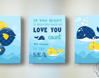 Nautical Nursery Art - LOVE Nursery Decor - Beach Ocean Themed Décor -Baby Boy Room Decor -Set of Three Wall Art - Navy Blue And Yellow