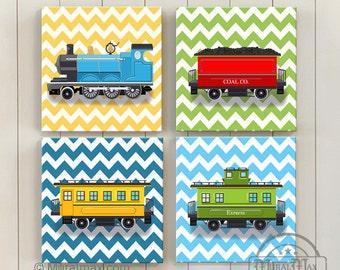 Train Art for Kids, Train Decor, Baby Boy Nursery Decor, Train Nursery Decor  - Canvas Art - Trasportation Playroom Wall Art