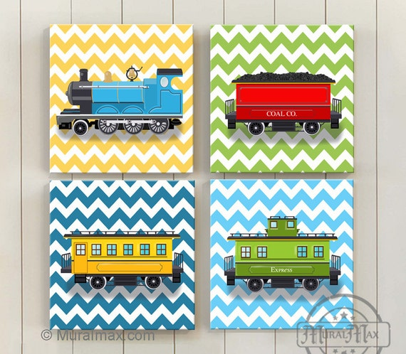 Train Art for Kids Train Decor Baby Boy Nursery Decor Train