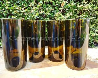 Wine Bottle Glasses Like Pint Glasses but Better in Olive 20 oz  Set of 4