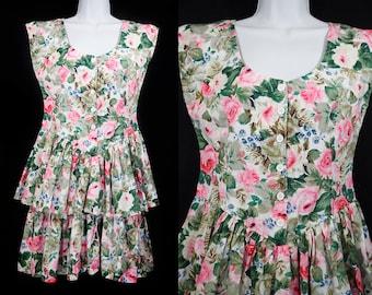 10 DOLLAR SALE---Vintage 80's Sleeveless Pink Floral Layer Skirt Dress L