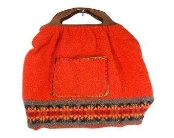 "10 DOLLAR SALE---Vintage Large Orange Fabric Tote Bag w/ Wooden Handle 20"" x 14"""