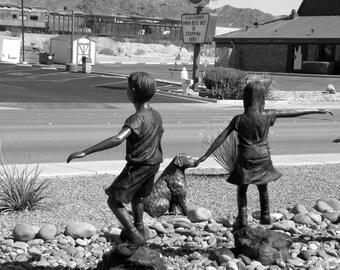 Boy, Girl and Dog, Fine Art Photography, Boulder City, Sculpture, Desert, Las Vegas