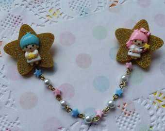 Super Sweet Twin Star Brooch set - hime fairy kei sweet lolita