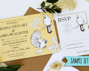 ONE SAMPLE Bird Etchings Wedding Invitation and RSVP response card