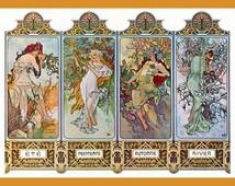 Vintage Art Nouveau Fridge Magnet Alphonse Mucha Woman Four Seasons Winter Autumn Spring Summer