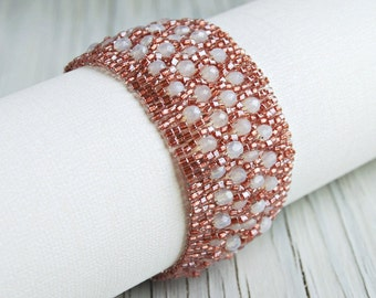 Elegant Pink and White Crystal Bracelet, Beaded Cuff, Beadwoven Wide Bracelet with Sterling Silver Sliding Clasp