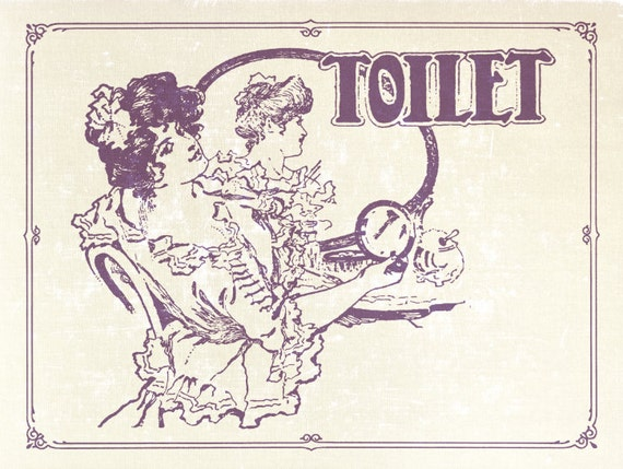 Art Nouveau Purple Bathroom Sign Toilet Poster By Relicsremixt