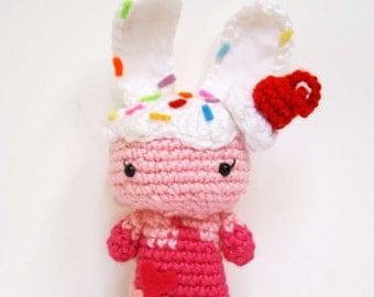 Crochet Ice Cream Bunny, Amigurumi Bunny Toy, Crochet Bunny Doll