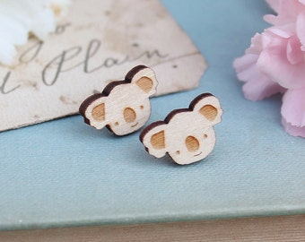Laser Cut Wooden Koala Stud Earrings