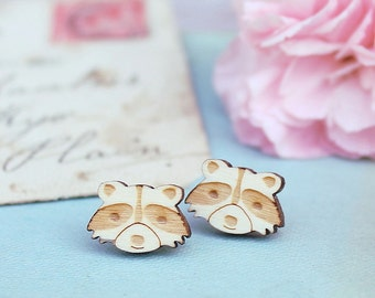 Laser Cut Wooden Raccoon Earrings