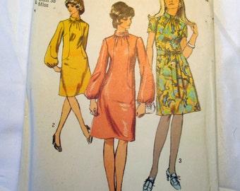 "1970s Mandarin collar dress sewing pattern Simplicity 9105 Size 16 Bust 38"""