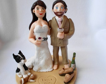 DEPOSIT ONLY!! Custom Polymer Clay Wedding Cake Topper,Custom Bride and Groom Figurine.  A  Hand Crafted Art Sculpture.