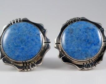 Vintage Native American Navajo Jerry T Nelson Sterling Silver Denim Lapis Cufflinks