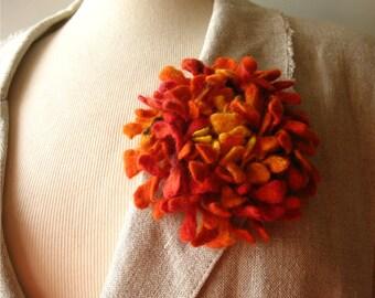 Felted flower brooch orange yellow Hand felted Dahlia flower brooch Felt brooch Merino wool brooch Felt jewelry Ready to ship