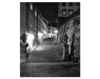 Black And White Photography, Prague Castle Steps, Czech Republic Prague, Fine Art Photography, Night Urban Photography