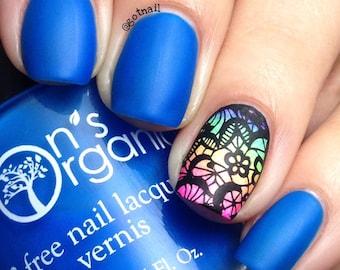 Enchanting - 5 Free MATTE Neon Dark Blue Nail Polish - Glow in the Dark, Vegan, Handmade Nail Lacquer - Nail Art Designs