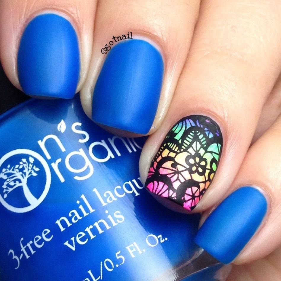 Enchanting 5 Free MATTE Neon Dark Blue Nail Polish Glow In