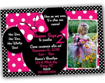 Minnie Mouse Invitation, Minnie Mouse Birthday, Pink Minnie Mouse invitations, Minnie Mouse party, Minnie Mouse Thank you card