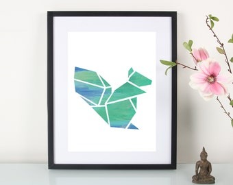 """Artprint, origami squirrel Turquoise"""