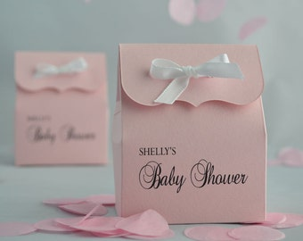 Pink Baby Shower Favor Bags with White Ribbon: 10 Personalized Favor Bags