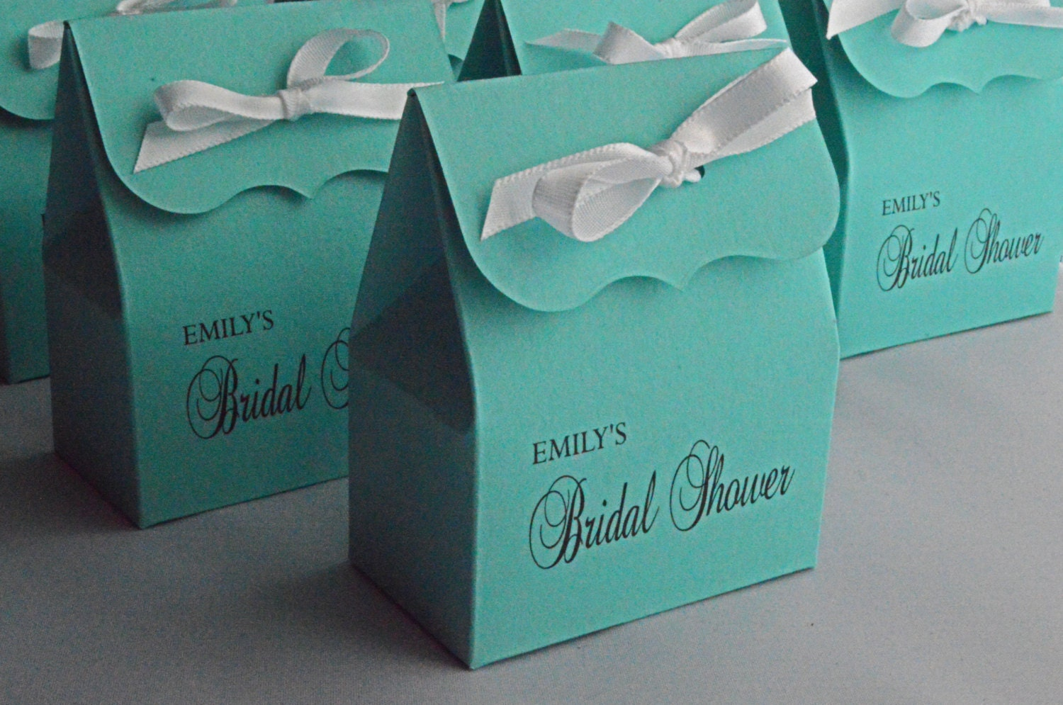Ideas For Bridal Shower Gift Bags : Bridal Shower Favor Bags in blue with white Ribbon