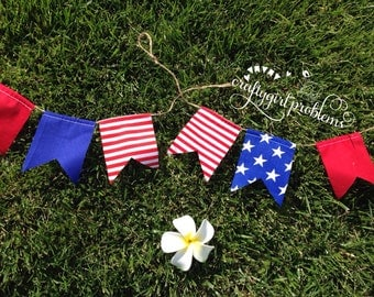 Mini 4th of July Pennant Banner, Independence Day Pennant Banner