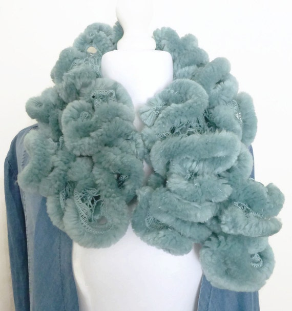 Teal knit scarf hand knitted scarf waterfall scarf UK scarf