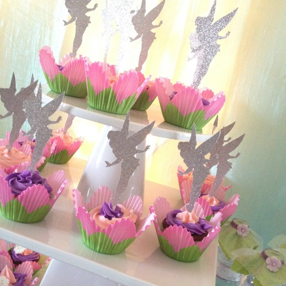 Tinkerbell Glitter Cupcake Topper Personalized Tags Gift