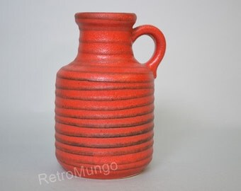 West Germany vase by Scheurich 414-16 Red & black