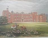 Antique wood block colour print Burton Constable Yorkshire Elizabethan hunting horses dogs foxes