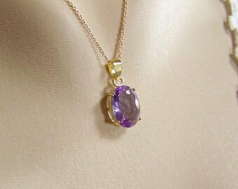 Violet Crystal Necklace, Swarovski Violet Crystal, Oval Violet Crystal, Prong Set Violet Crystal, Gold Violet Necklace, February Birthstone